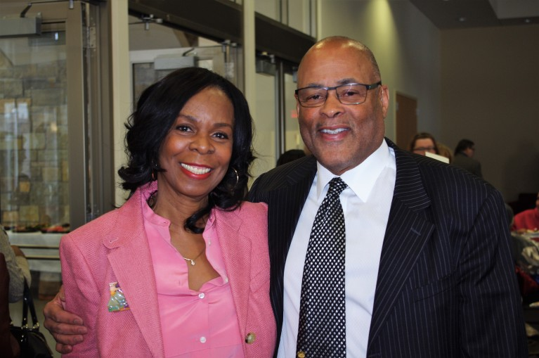 Cora McCorvey and MPHA Board Chair F. Clayton Tyler at McCorvey Center Dedication