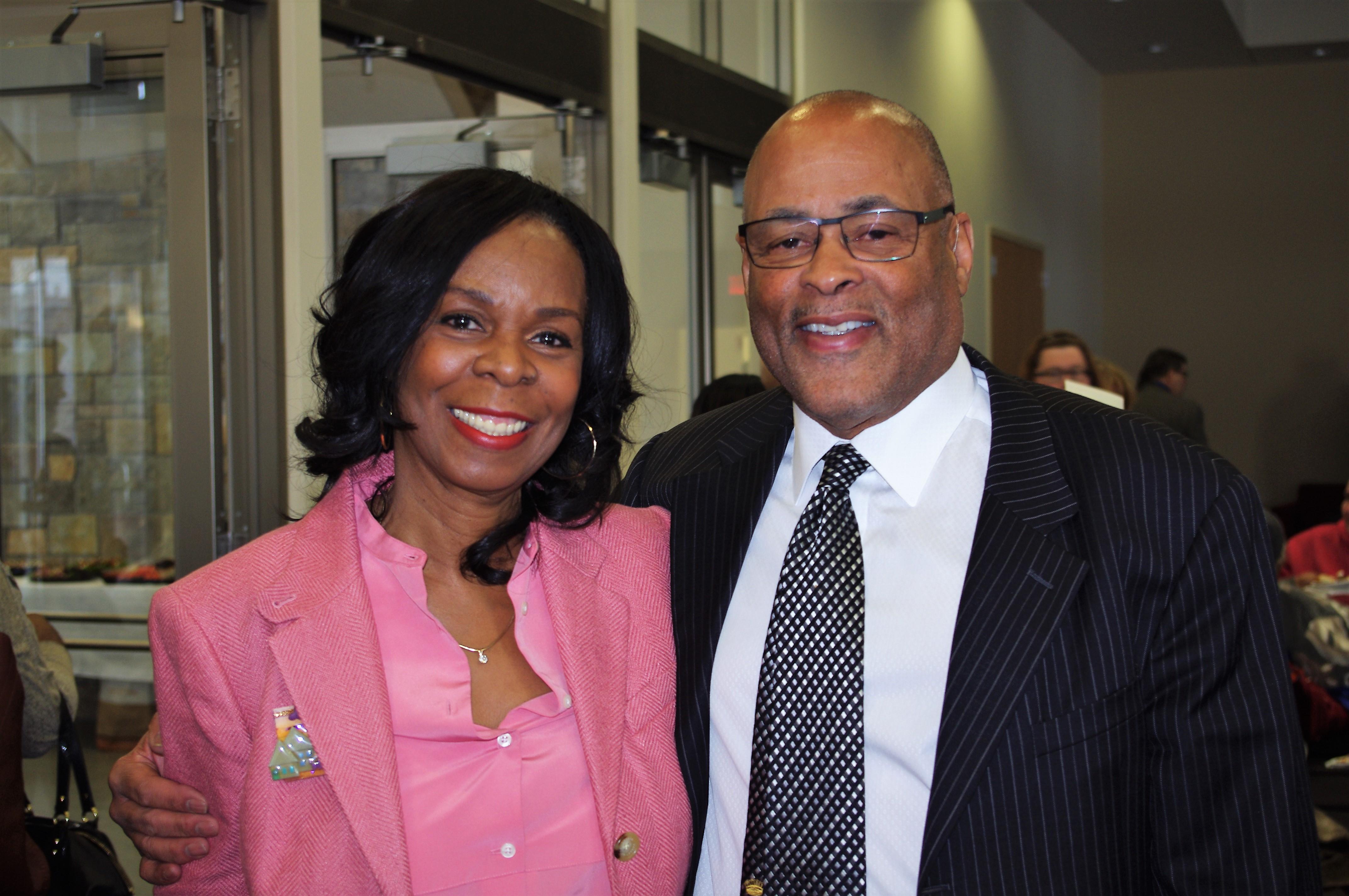 Cora McCorvey and MPHA Board Chair F. Clayton Tyler at McCorvey Center Dedication