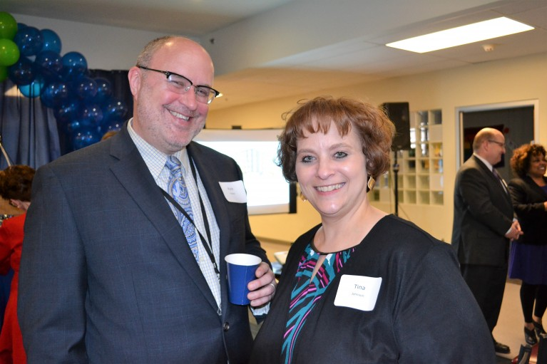 Kyle Hanson and Tina Johnson at Downtown View launch