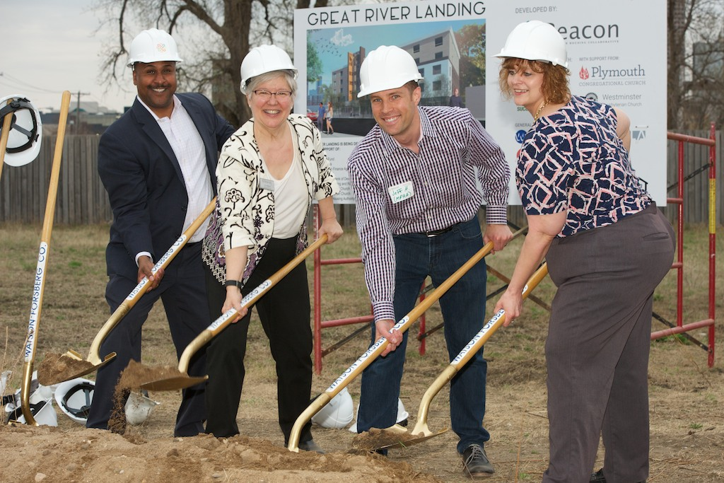 Great River Landing groundbreaking, from left: Better Futures CEO Dr. Thomas Adams, Beacon Executive Director Lee Blons, MPHA Director of Policy & External Affairs Jeff Horwich, and MPHA HCV Supervisor Tina Johnson. (Photo by Anna Botz.)