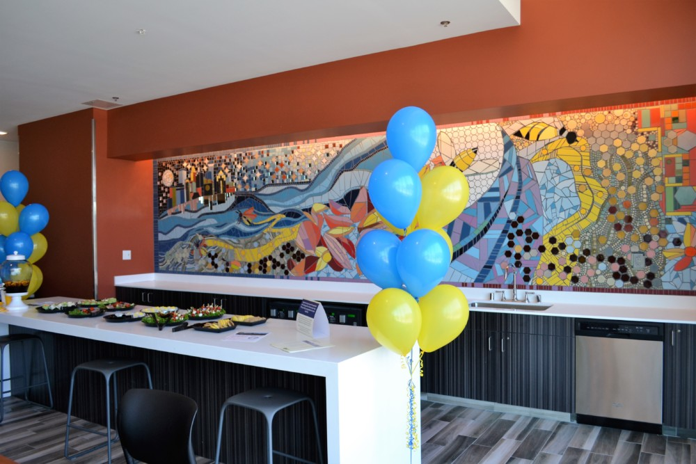 A gorgeous tile mural graces the first floor commons of Downtown View