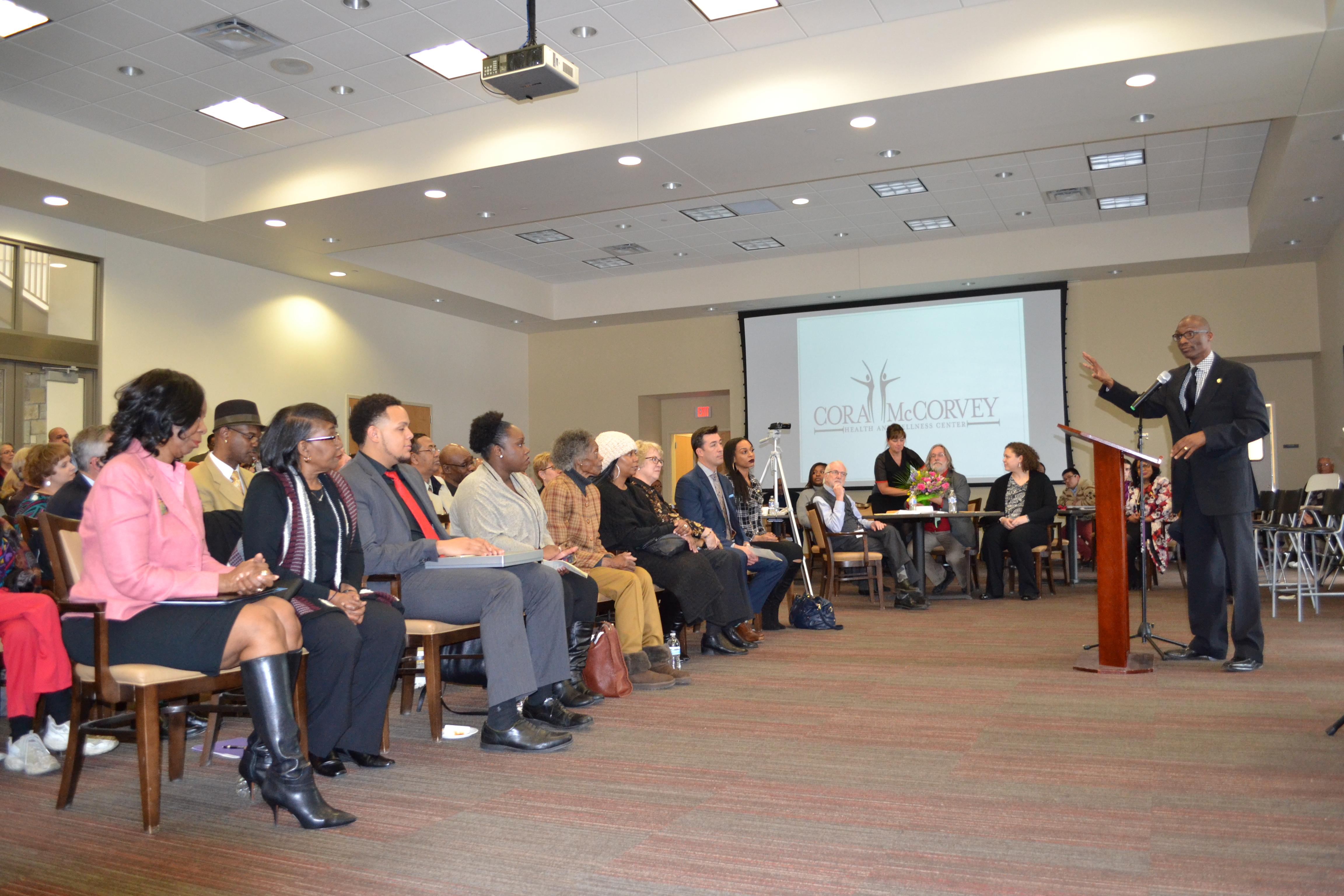 State Sen. Bobby Joe Champion speaks at Cora McCorvey Center Dedication