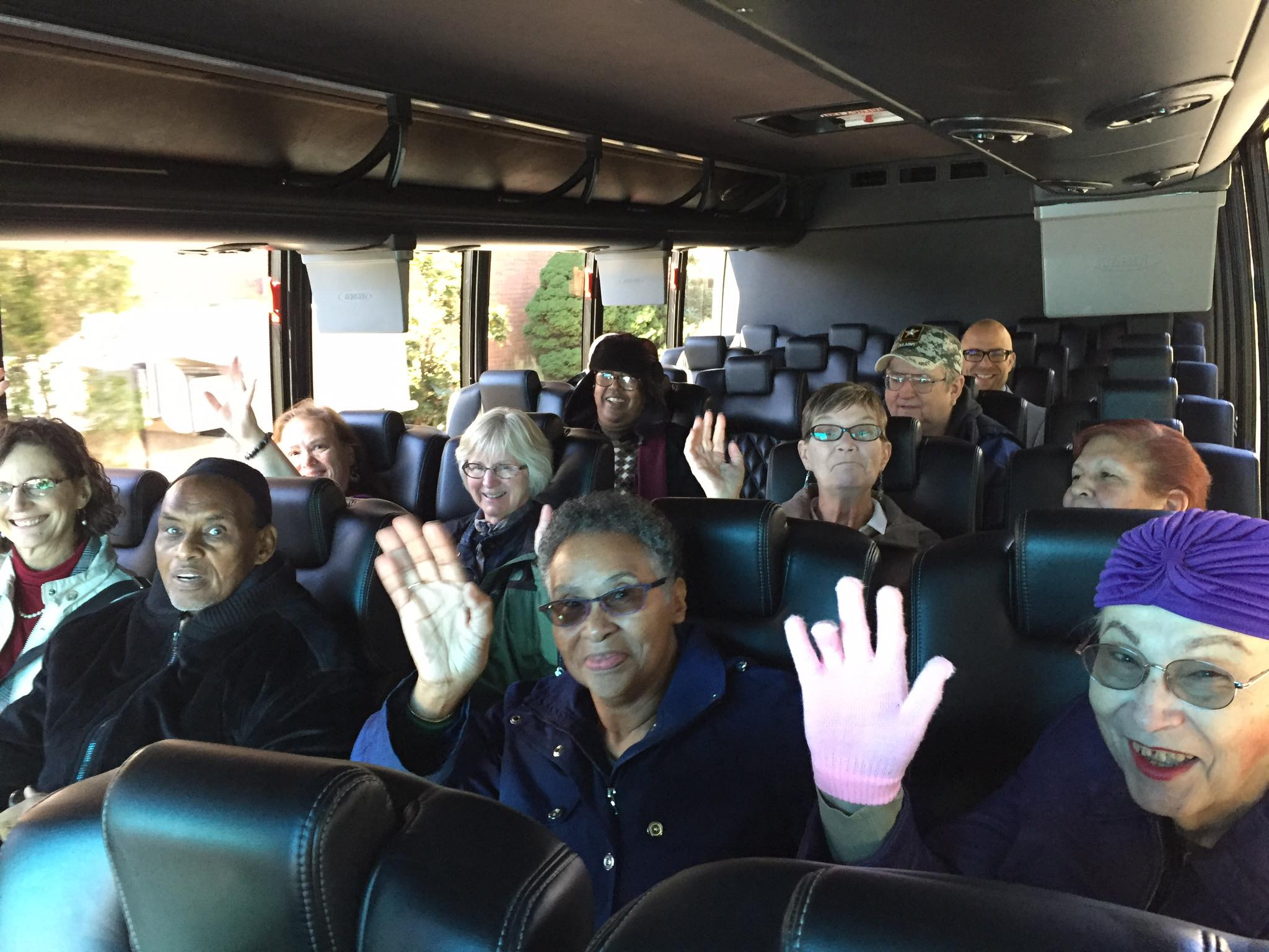 Residents on a bus