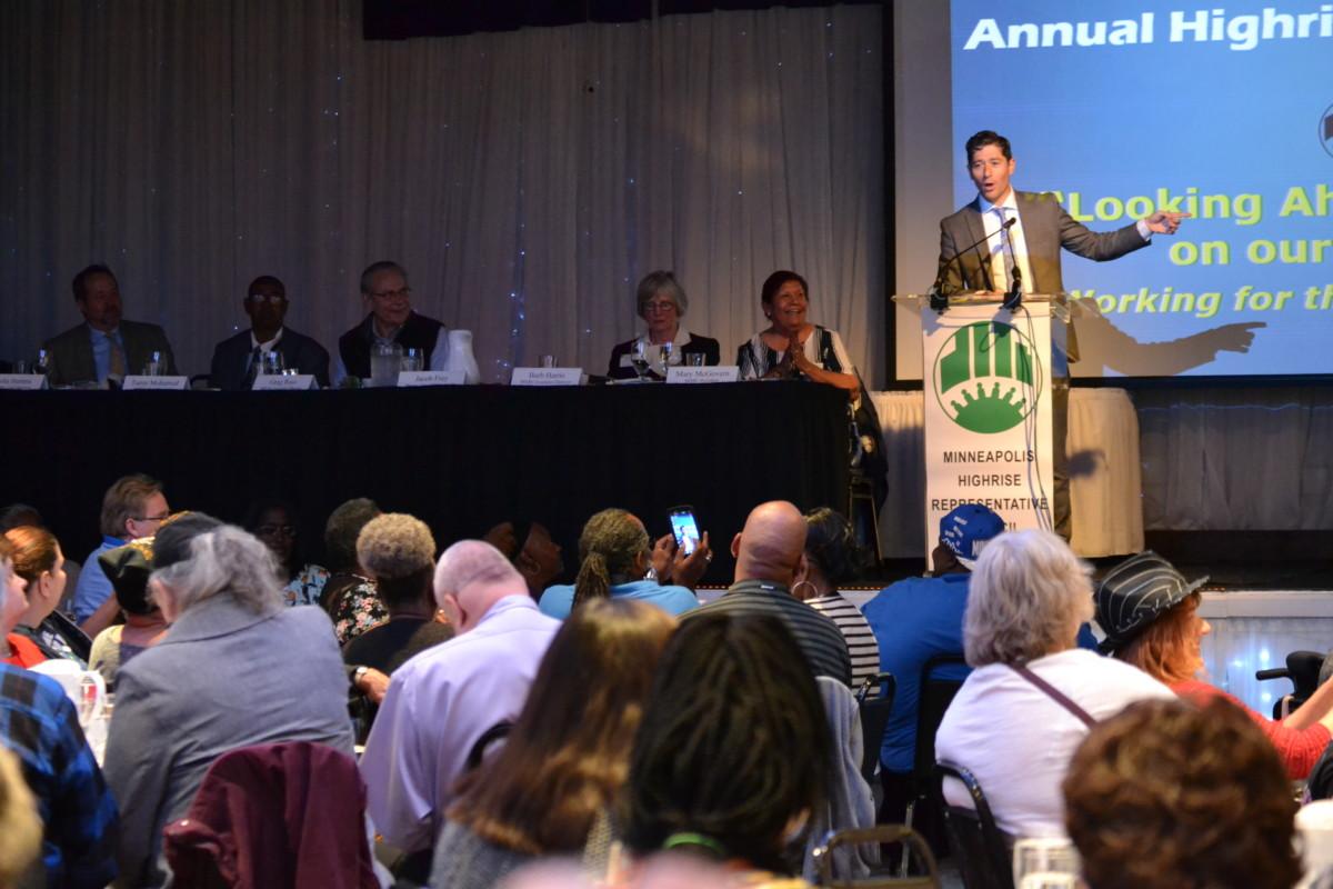 Mayor Jacob Frey speaks to MHRC