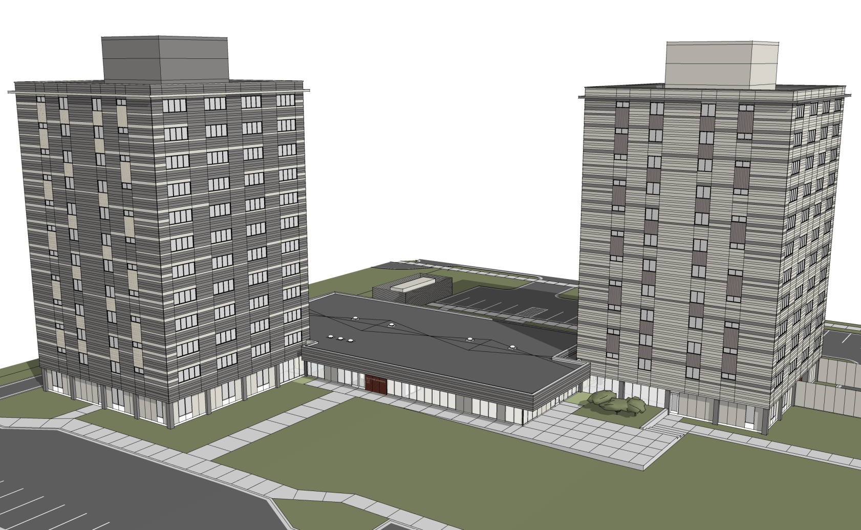 An architect's rendering of the updated Elliot Twins, including new 6,200 community-link addition.